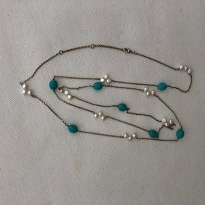 Turquoise and Pearl long necklace